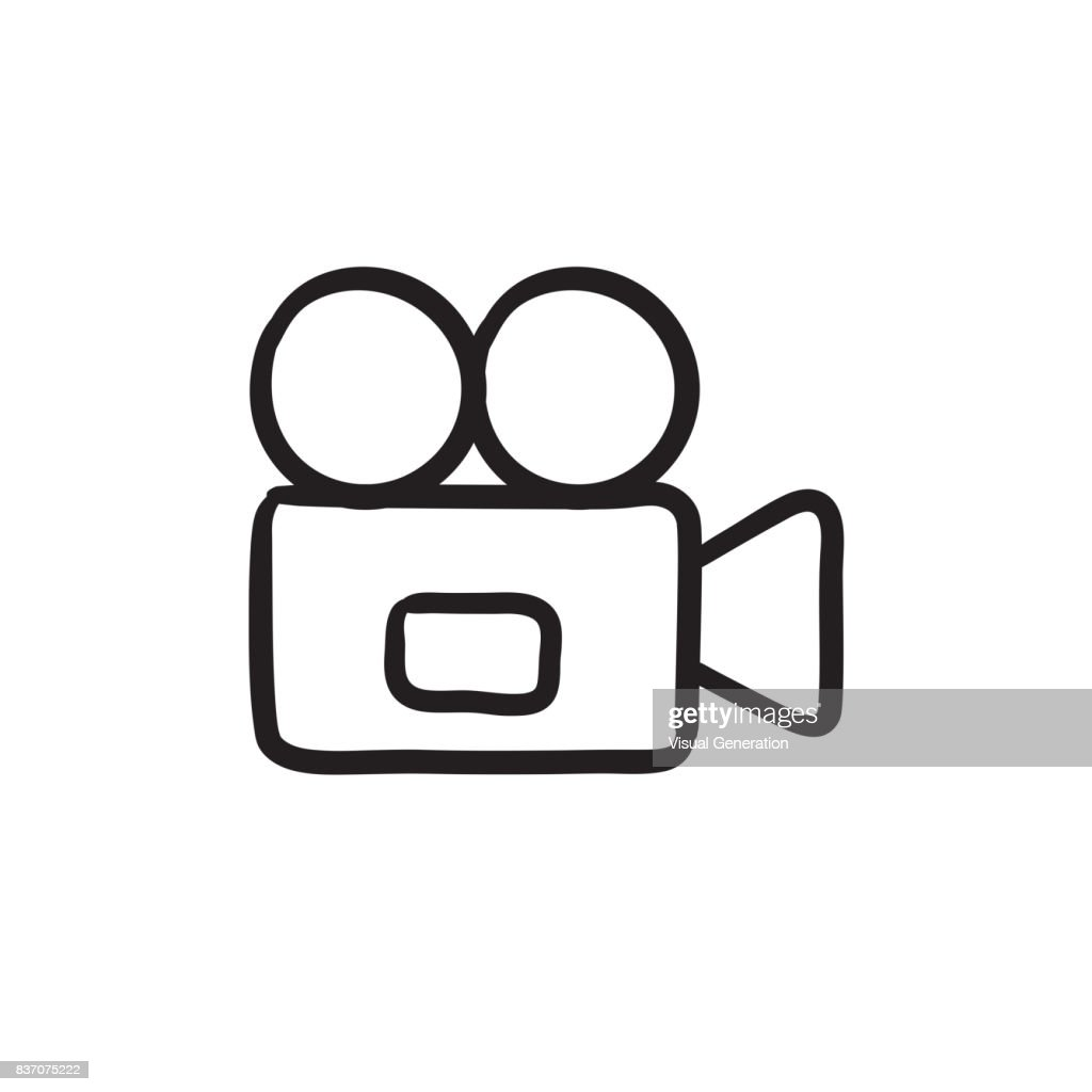 Video camera sketch icon