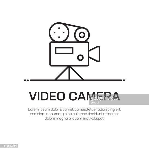 ilustrações de stock, clip art, desenhos animados e ícones de video camera vector line icon - simple thin line icon, premium quality design element - maquina fotografica antiga