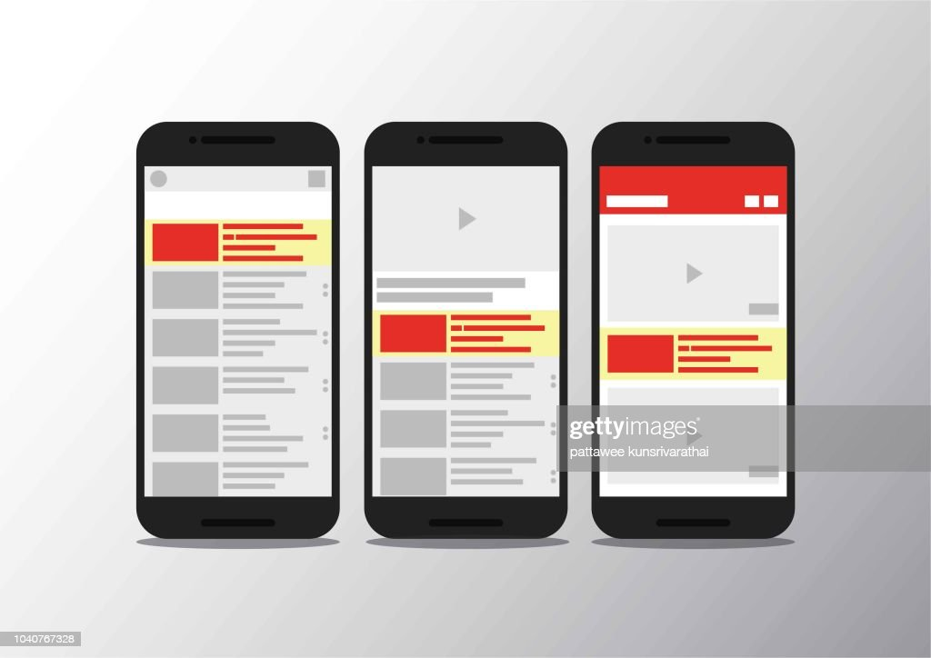 Video channel app interface mobile phone . Socisl media . Subscribe . youtube mobile mock up . Vector illustration