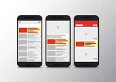 Video channel app interface mobile phone . Socisl media . Subscribe . youtube mobile mock up . Vector illustration