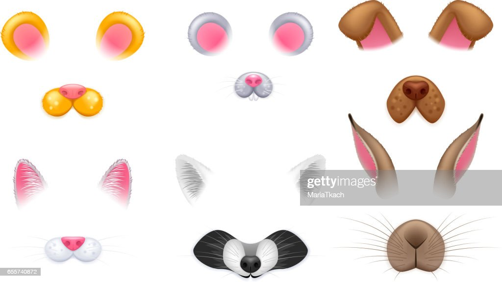 Video chat effects animal faces set