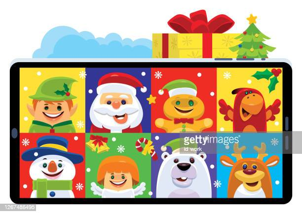 video chatting with christmas friends - gingerbread man stock illustrations