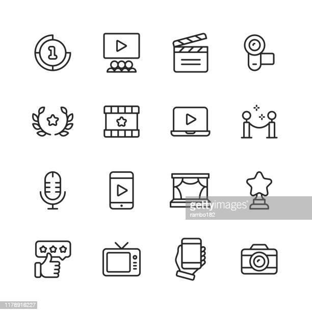 stockillustraties, clipart, cartoons en iconen met video, cinema, film lijn iconen. bewerkbare lijn. pixel perfect. voor mobiel en internet. bevat pictogrammen zoals video speler, film, camera, bioscoop, 3d-bril, virtual reality, televisie, theater, beroemdheid. - kunst cultuur en vermaak