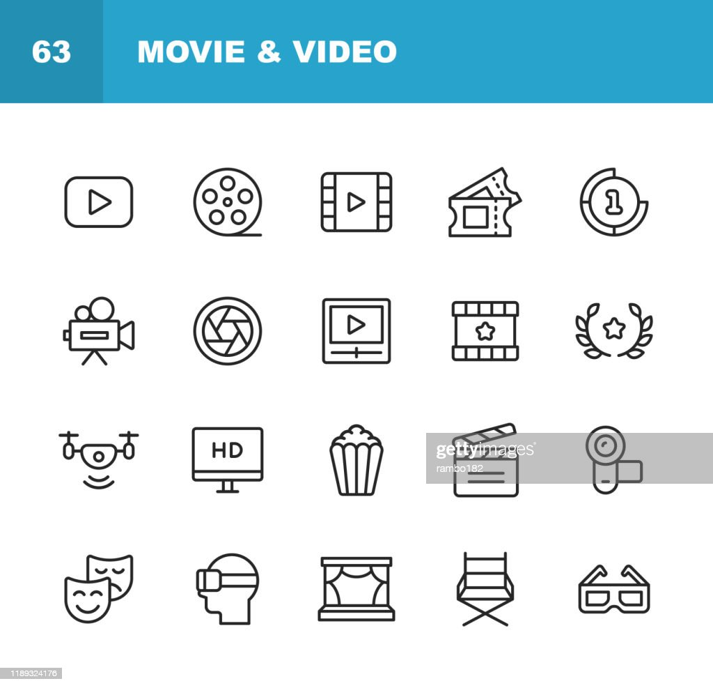 Icone video, cinema, linea cinematografica. Tratto modificabile. Pixel Perfetto. Per dispositivi mobili e Web. Contiene icone come Lettore video, Film, Fotocamera, Cinema, Occhiali 3D, Realtà virtuale, Teatro, Biglietti, Drone, Regia, Televisione. : Illustrazione stock