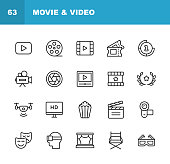 Video, Cinema, Film Line Icons. Editable Stroke. Pixel Perfect. For Mobile and Web. Contains such icons as Video Player, Film, Camera, Cinema, 3D Glasses, Virtual Reality, Theatre, Tickets, Drone, Directing, Television.