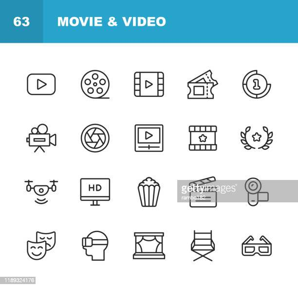 video, cinema, film line icons. editable stroke. pixel perfect. for mobile and web. contains such icons as video player, film, camera, cinema, 3d glasses, virtual reality, theatre, tickets, drone, directing, television. - film industry stock illustrations
