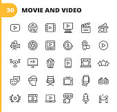 Video, Cinema, Film Line Icons. Editable Stroke. Pixel Perfect. For Mobile and Web. Contains such icons as Video Player, Film, Camera, Cinema, 3D Glasses, Virtual Reality, Theatre, Tickets, Drone, Directing, Television, Review, Stage, Video Streaming.