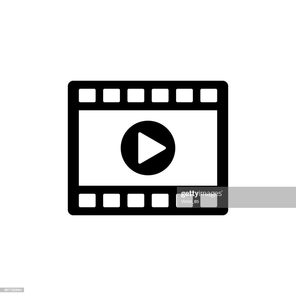 Video clip player icon. Black, minimalist icon isolated on white background.