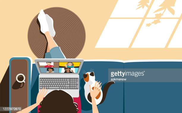 video conference at home - mid adult stock illustrations