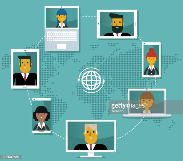 video conference - business people - employee engagement stock illustrations