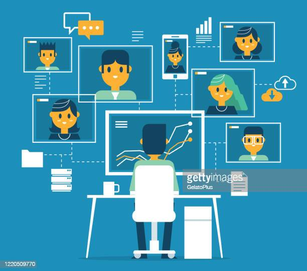 video conference - business team - adult stock illustrations