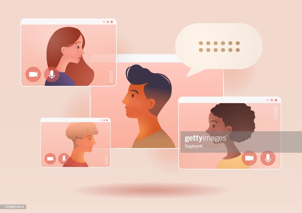 Video conference call of a business group meeting. Remote work. Work from Home, Online webinar. Social distancing. Online technology concept vector illustration. : Stock Illustration