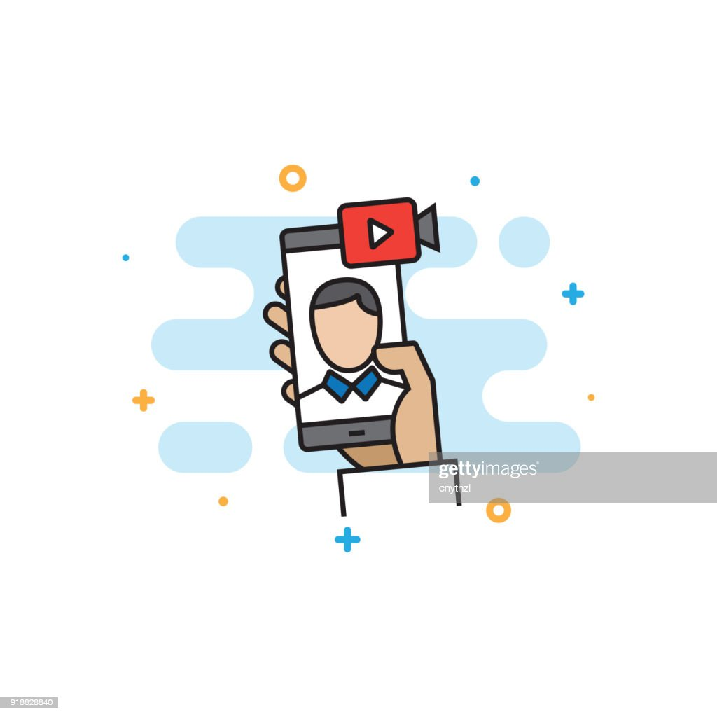 Video Conference Flat Line Icon