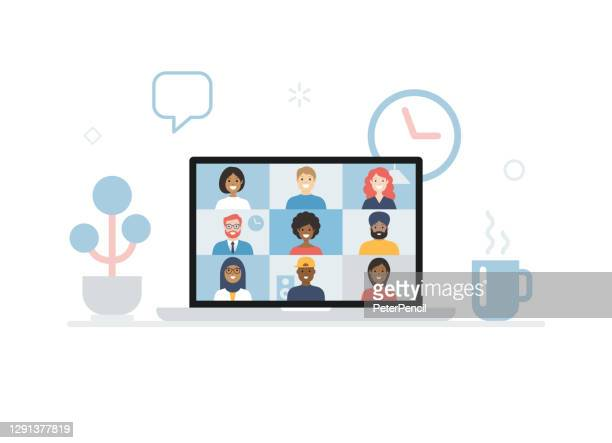 video conference. group of people on computer, laptop, notebook, tablet screen. user interface. multicultural friends and colleagues. working at home. vector stock illustration - human body part stock illustrations