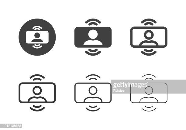 video conference icons - multi series - stream stock illustrations