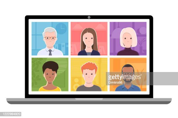 video conference on a laptop computer. - employee engagement stock illustrations