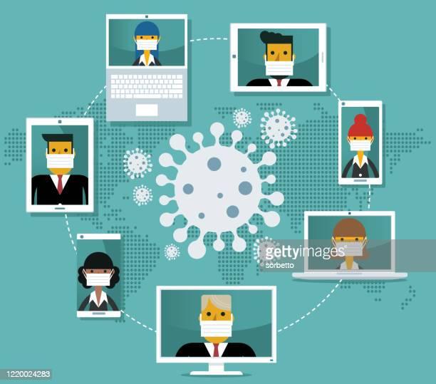 videokonferenz - quarantäne - geschäftsbesprechung stock-grafiken, -clipart, -cartoons und -symbole
