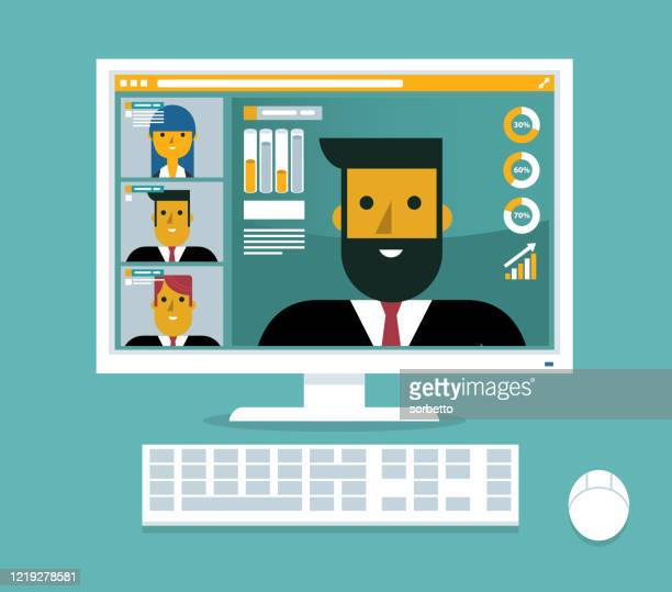 videokonferenz - internet konferenz stock-grafiken, -clipart, -cartoons und -symbole