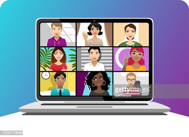 ilustrações de stock, clip art, desenhos animados e ícones de video conference - jovem adulto