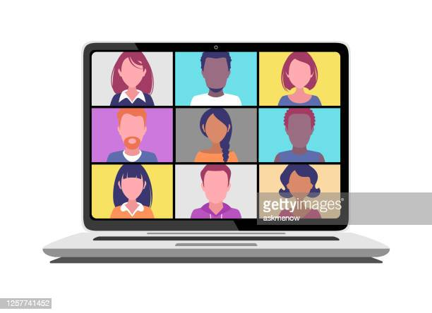 illustrazioni stock, clip art, cartoni animati e icone di tendenza di video conference - computer portatile