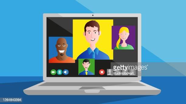 illustrations, cliparts, dessins animés et icônes de vidéoconférence - confinement clip art