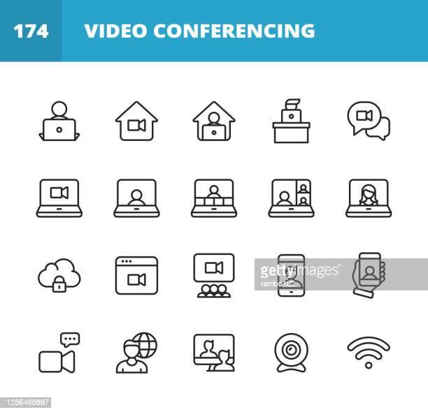 ilustraciones, imágenes clip art, dibujos animados e iconos de stock de iconos de línea de conferencia de vídeo. trazo editable. pixel perfecto. para móviles y web. contiene iconos como cámara, video chat, mensajería en línea, videoconsercador, webinar, trabajo remoto, trabajo en equipo, aprendizaje remoto, freelancer, t - seminario reunión