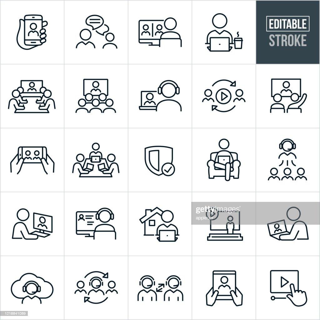 VidéoConférence Fine Line Icons - Course Modifiable : Illustration