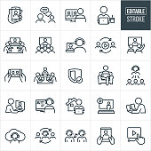 Video Conferencing Thin Line Icons - Editable Stroke