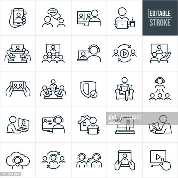 illustrazioni stock, clip art, cartoni animati e icone di tendenza di video conferencing thin line icons - editable stroke - presentazione discorso