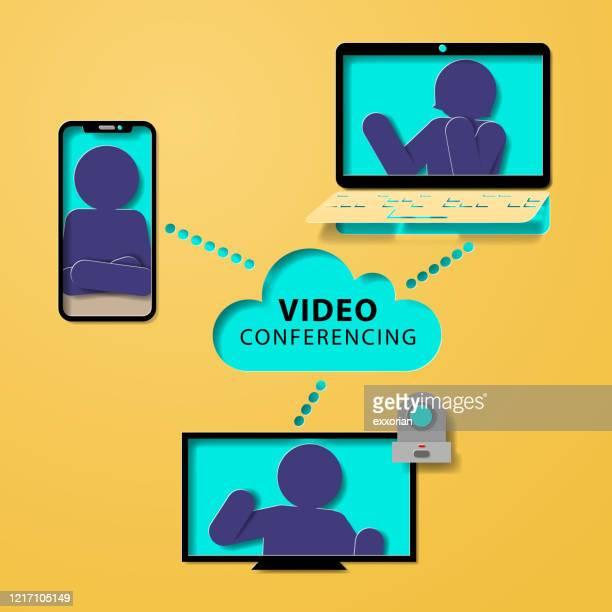 ビデオ会議 - バーチャルイベント点のイラスト素材/クリップアート素材/マンガ素材/アイコン素材