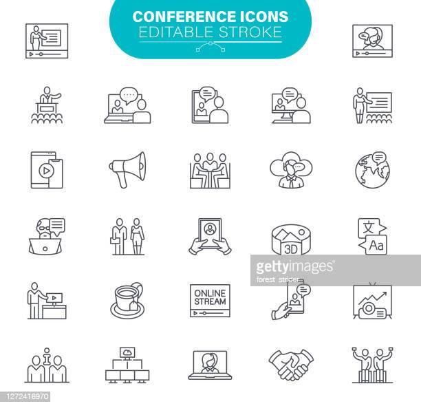 ビデオコンフェレンス編集可能ストローク - バーチャルイベント点のイラスト素材/クリップアート素材/マンガ素材/アイコン素材