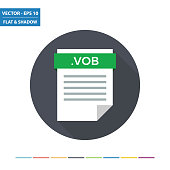 VOB video document file format flat icon