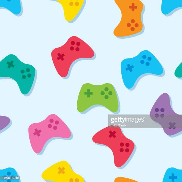 video game controller pattern colorful - leisure games stock illustrations