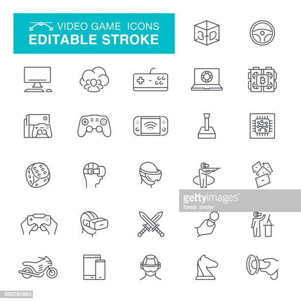 Video Game Editable Stroke Icons