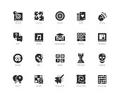 Video game genres vector icons set in glyph style