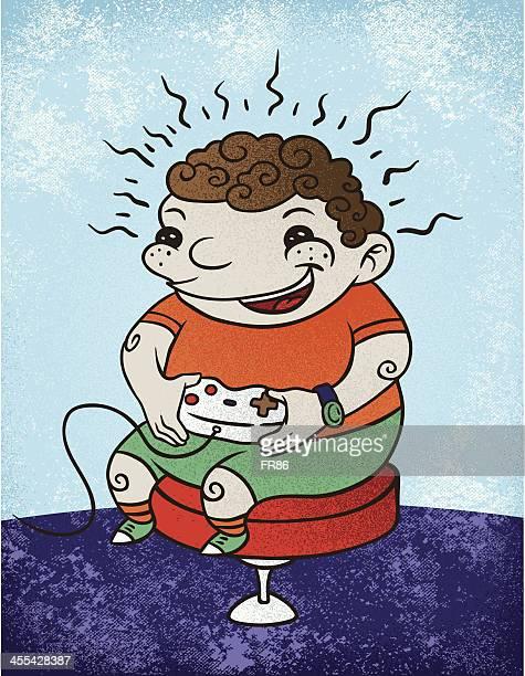 ilustraciones, imágenes clip art, dibujos animados e iconos de stock de videojuego de niños - obesidad infantil