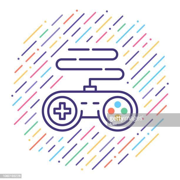 ilustraciones, imágenes clip art, dibujos animados e iconos de stock de video juego línea icono ilustración - ocio