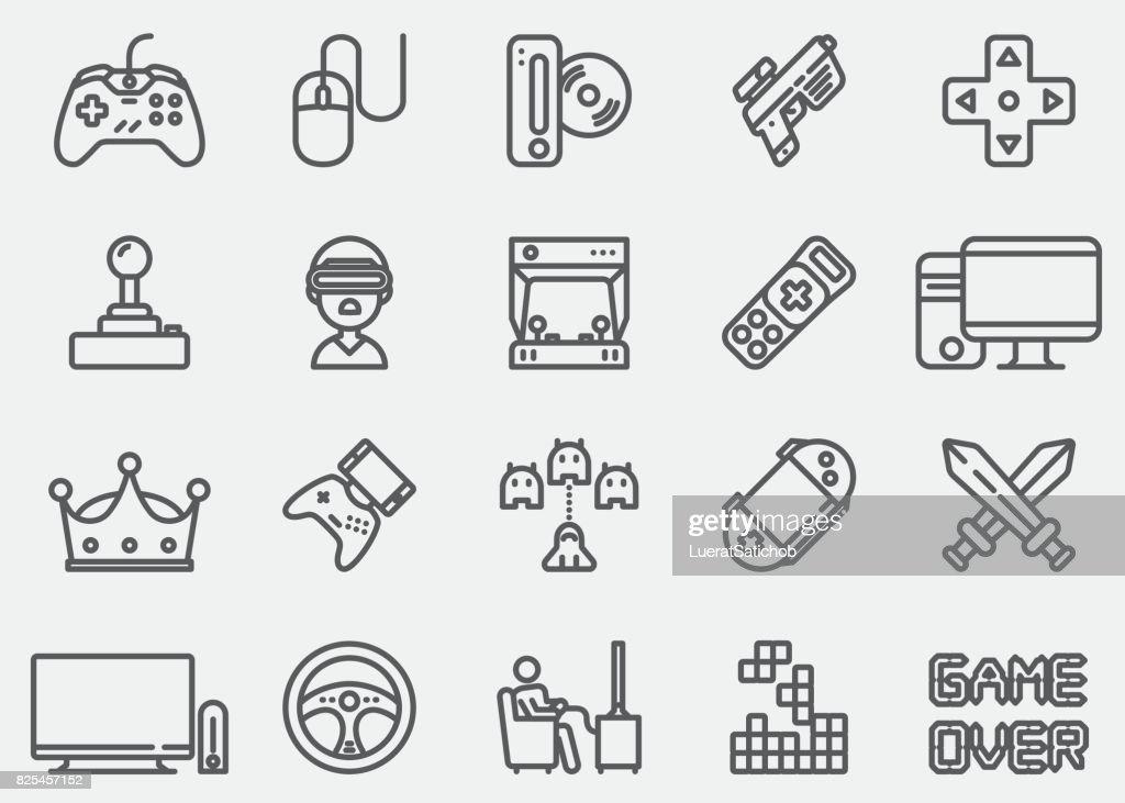 Ícones de linha de vídeo game : Ilustração