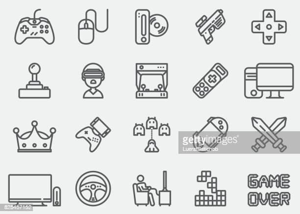video game line icons - leisure games stock illustrations