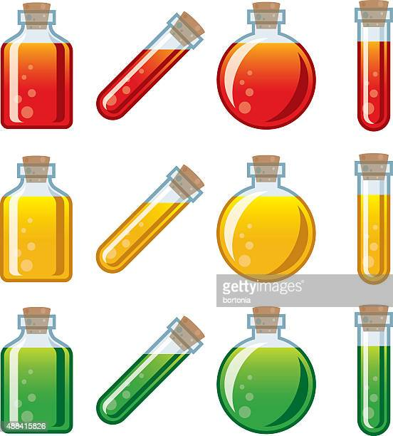 video game potion icon set - potion stock illustrations