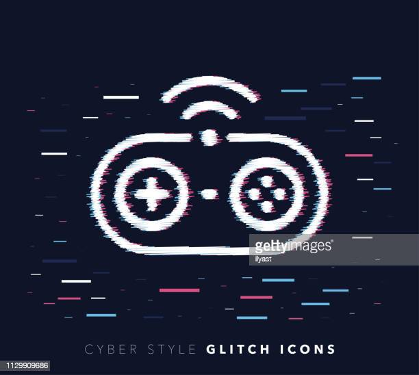 video games glitch effect vector icon illustration - esports stock illustrations