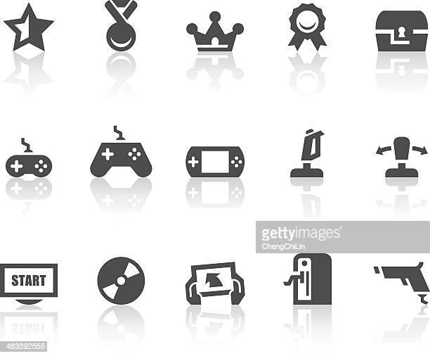 Jogos de vídeo simples preto ícones/série
