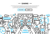 Video Gaming - line design website banner