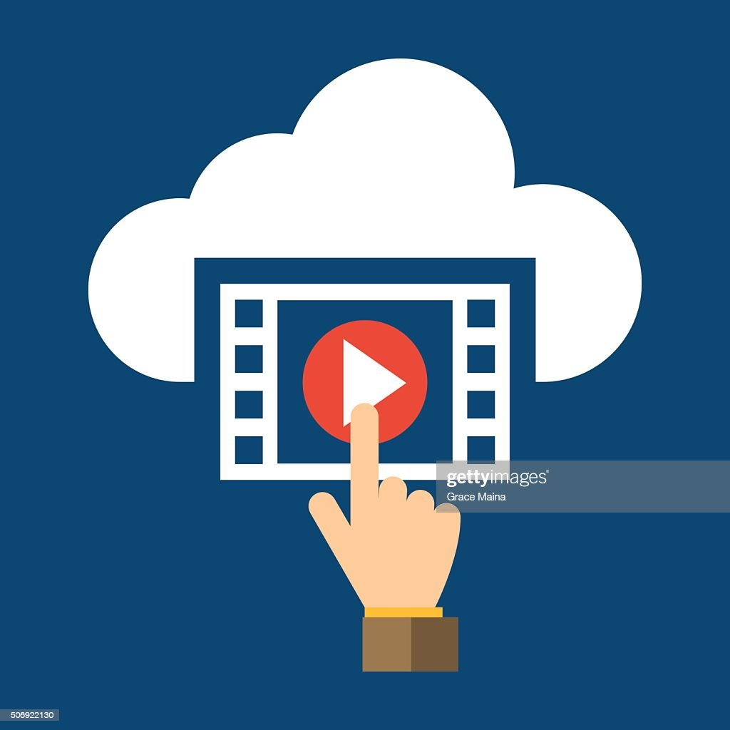 Video, Hand And Cloud Flat Design Icon - VECTOR