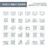 Video & Image Sharing Minimal Vector Icon Set (EPS 10)