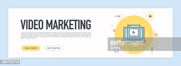 Video Marketing Concept - Flat Line Web Banner