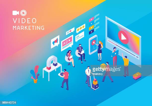 video marketing isometric concept - marketing stock illustrations