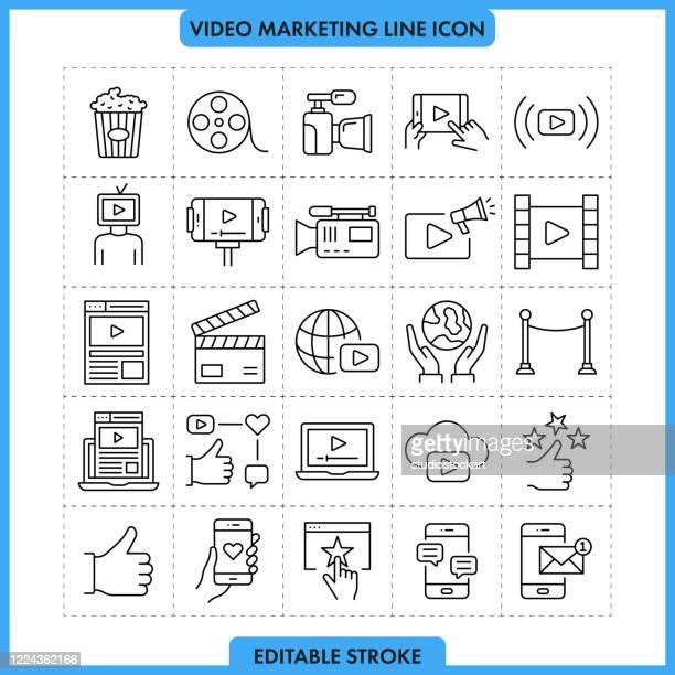 ビデオマーケティングラインアイコンセット。編集可能ストローク - 通知アイコン点のイラスト素材/クリップアート素材/マンガ素材/アイコン素材
