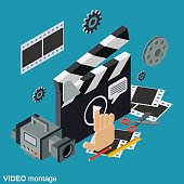 Video montage, media production vector concept