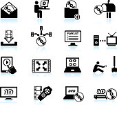 Video on demand and digital media vector icon set
